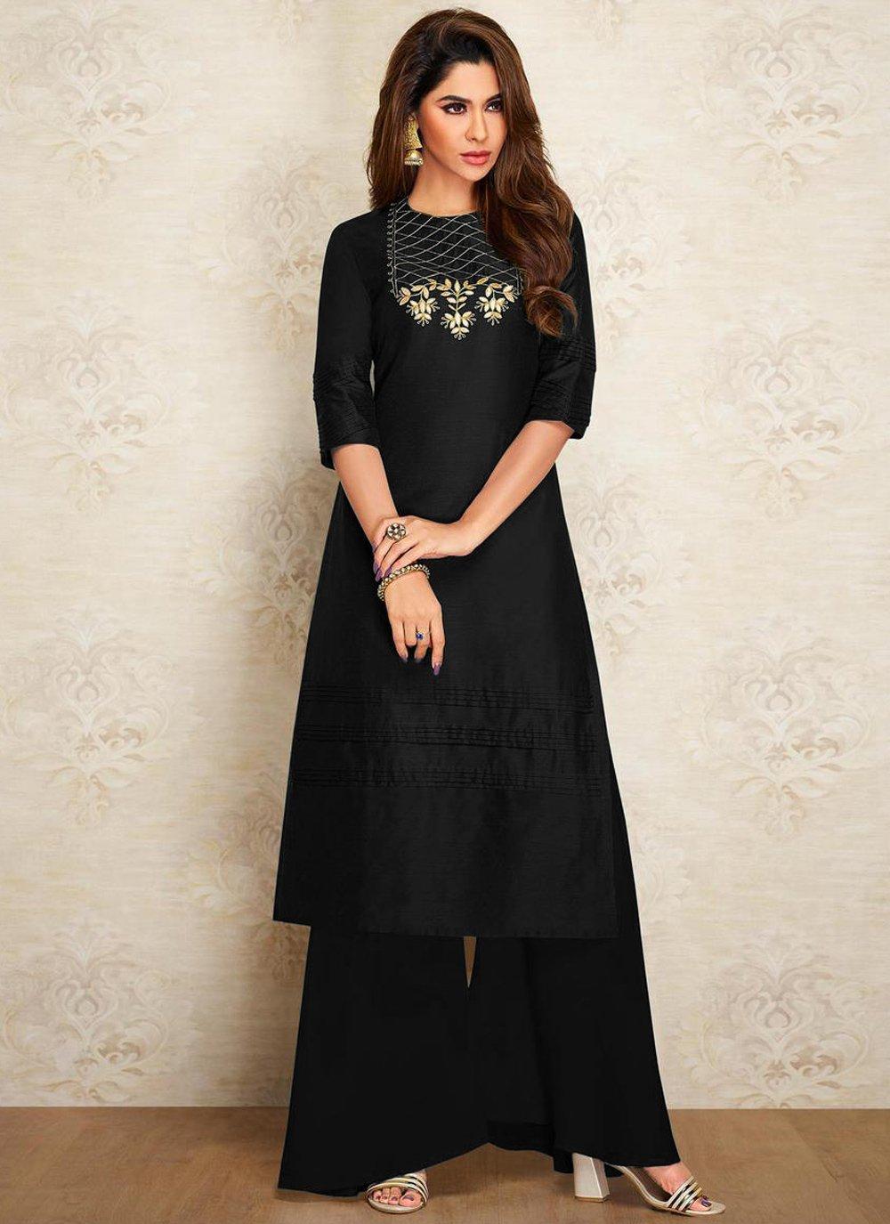 Designer Kurti Embroidered Dupion Silk in Black