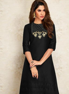 Designer Kurti Embroidered Dupion Silk in Black