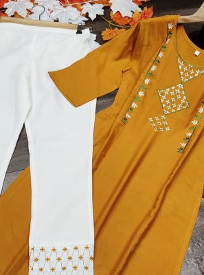 Designer Kurti Embroidered Rayon in Yellow