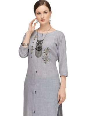 Designer Kurti Fancy Fancy Fabric in Grey