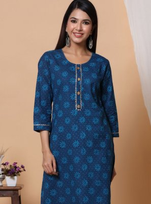 Designer Kurti Print Cotton in Blue