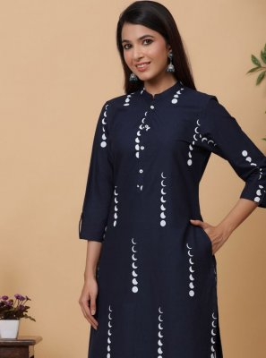 Designer Kurti Print Cotton in Navy Blue