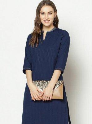 Designer Kurti Printed Cotton in Blue