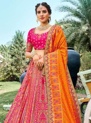 Designer Lehenga Choli Embroidered Silk in Pink