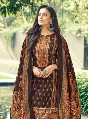 Designer Pakistani Salwar Suit Digital Print Velvet in Brown