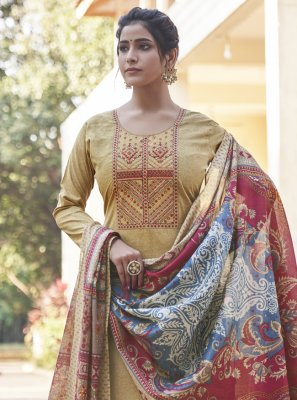 Designer Pakistani Salwar Suit Embroidered Cotton in Cream