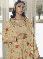 Designer Pakistani Salwar Suit Embroidered Faux Chiffon in Cream