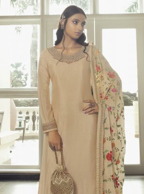Designer Pakistani Salwar Suit Embroidered Faux Chiffon in Cream