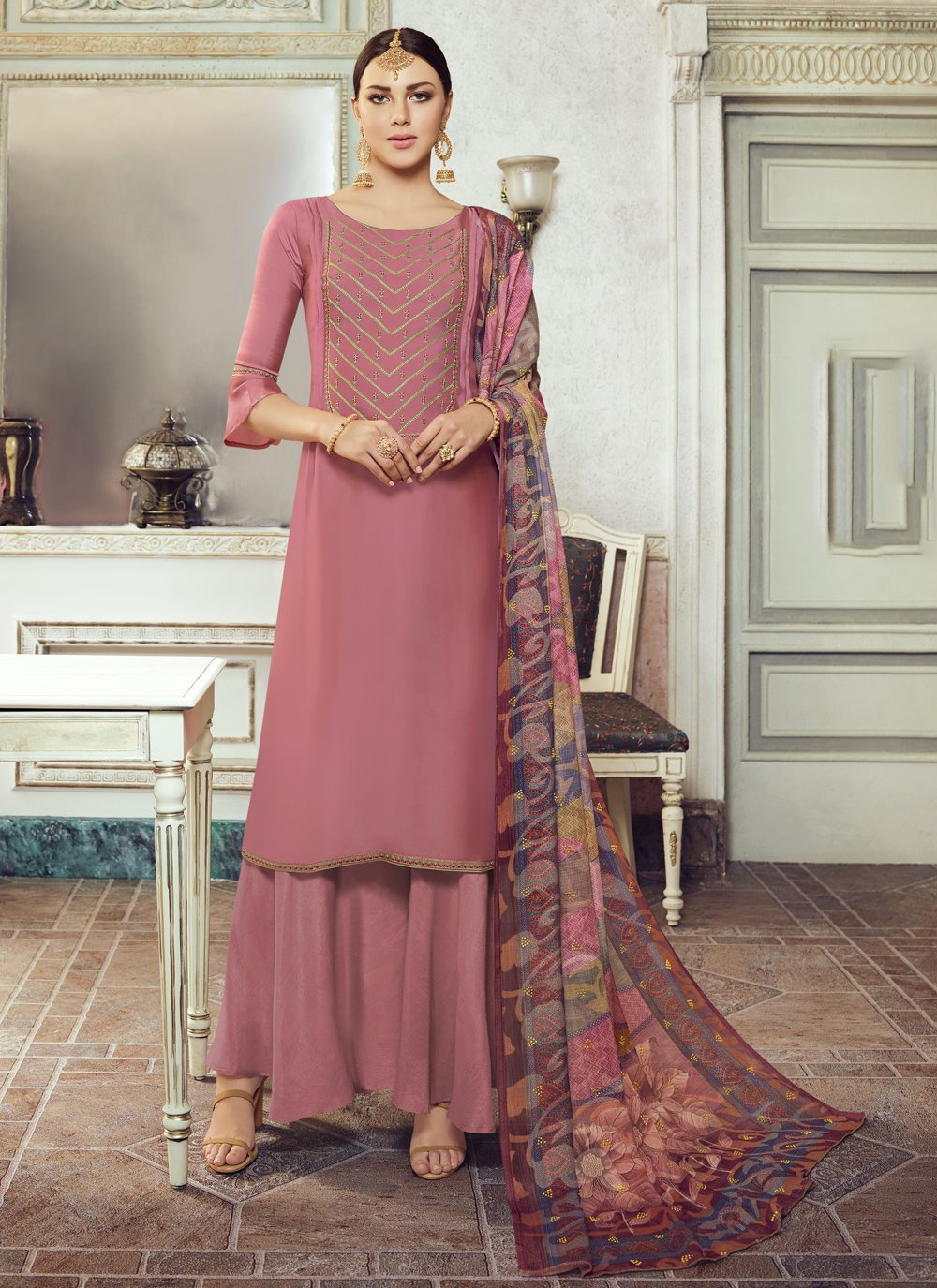 Designer Pakistani Salwar Suit Embroidered Georgette Satin in Mauve
