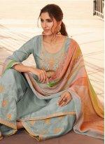Designer Pakistani Salwar Suit Embroidered Silk in Blue