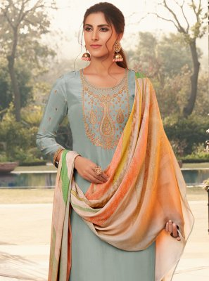 Designer Pakistani Salwar Suit Embroidered Silk in Blue