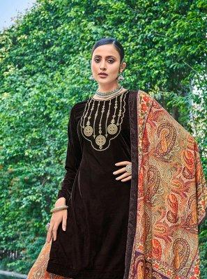 Designer Pakistani Salwar Suit Embroidered Velvet in Brown