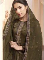 Designer Pakistani Suit Digital Print Satin in Green