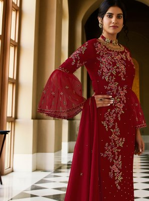 Designer Pakistani Suit Embroidered Faux Georgette in Maroon
