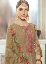 Designer Pakistani Suit Embroidered Georgette Satin in Brown