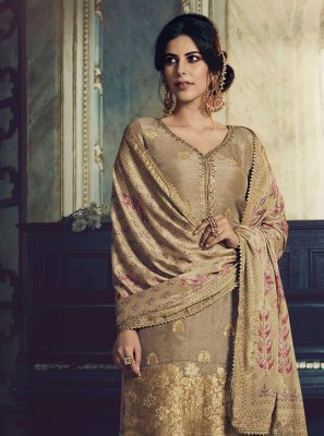 Designer Pakistani Suit Embroidered Jacquard Silk in Beige