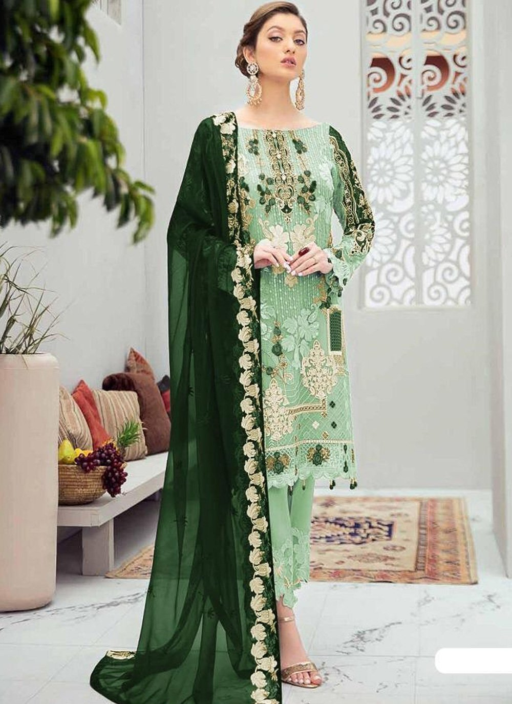 Designer Pakistani Suit Embroidered Net in Green