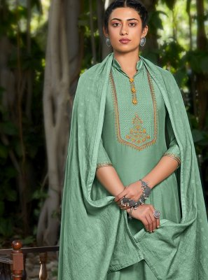 Designer Pakistani Suit Embroidered Viscose in Green