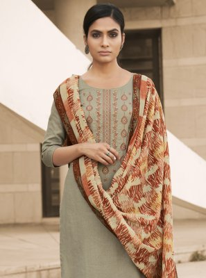 Designer Palazzo Salwar Kameez Embroidered Cotton in Green