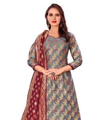 Designer Palazzo Salwar Kameez Weaving Banarasi Silk in Grey