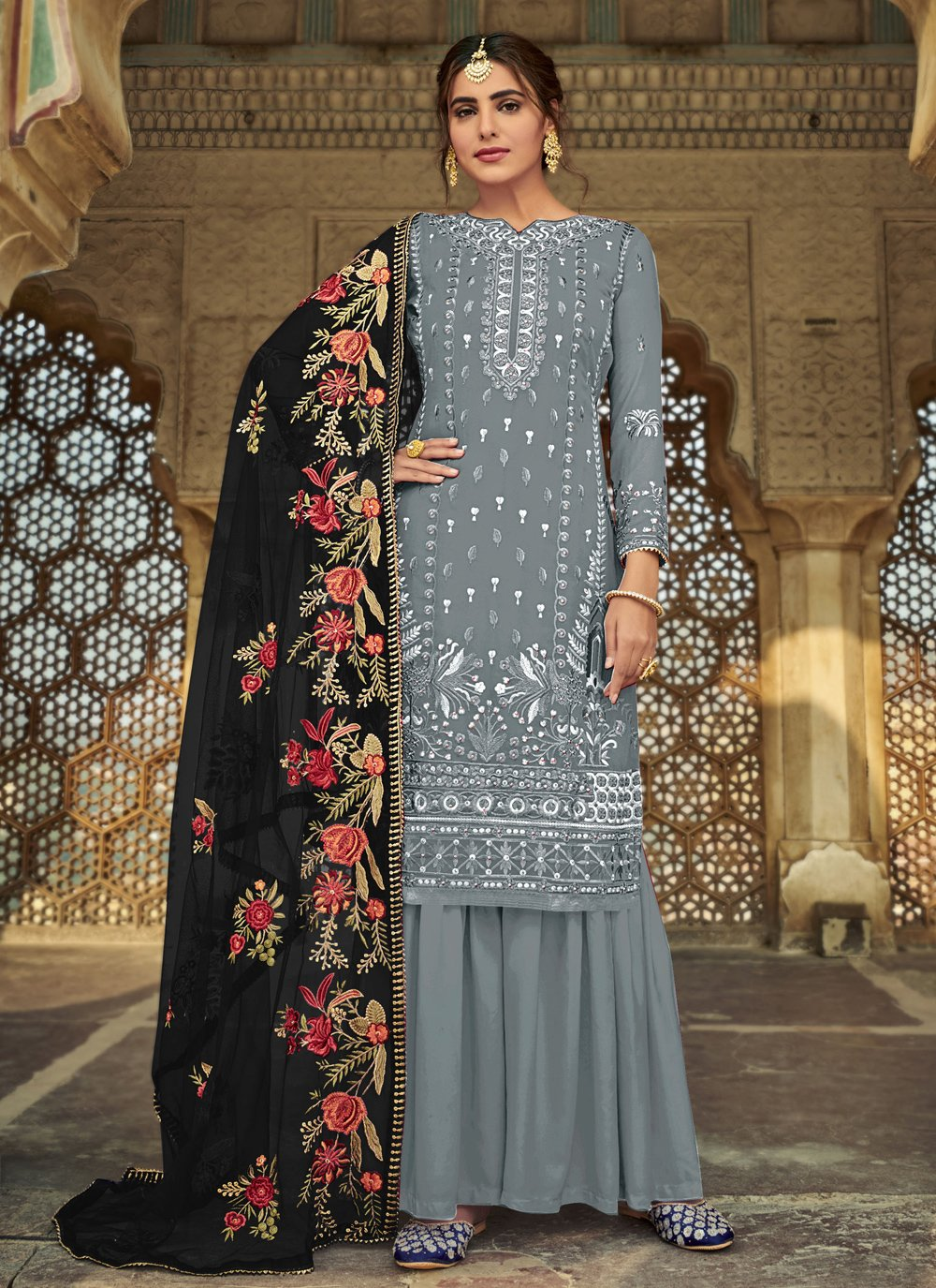 Designer Palazzo Salwar Suit Embroidered Faux Georgette in Grey