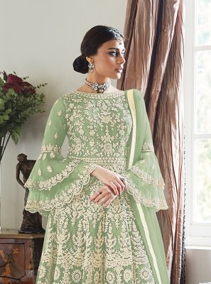 Designer Palazzo Salwar Suit Embroidered Net in Green