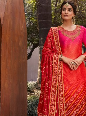 Designer Palazzo Suit Diamond Satin in Pink and Red