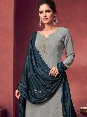 Designer Palazzo Suit Embroidered Faux Georgette in Grey
