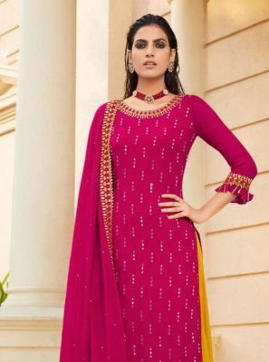 Designer Palazzo Suit Embroidered Faux Georgette in Hot Pink