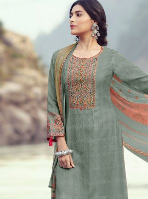 Designer Palazzo Suit Embroidered Pashmina in Grey