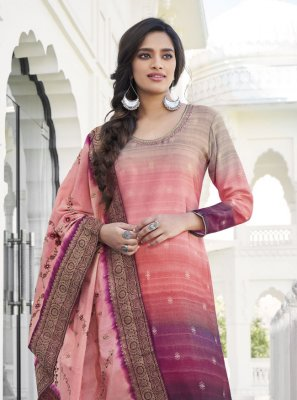 Designer Palazzo Suit Embroidered Satin Silk in Salmon