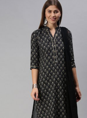 Designer Palazzo Suit Print Blended Cotton in Black