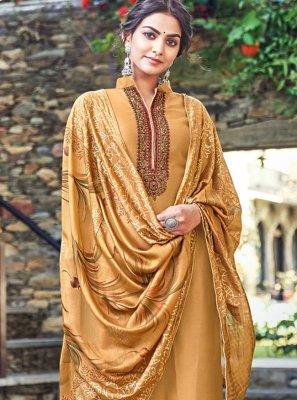 Designer Palazzo Suit Print Cotton Silk in Mustard
