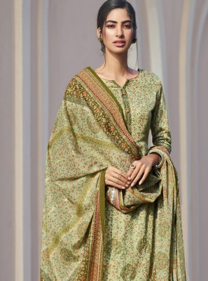 Designer Palazzo Suit Printed Satin in Green
