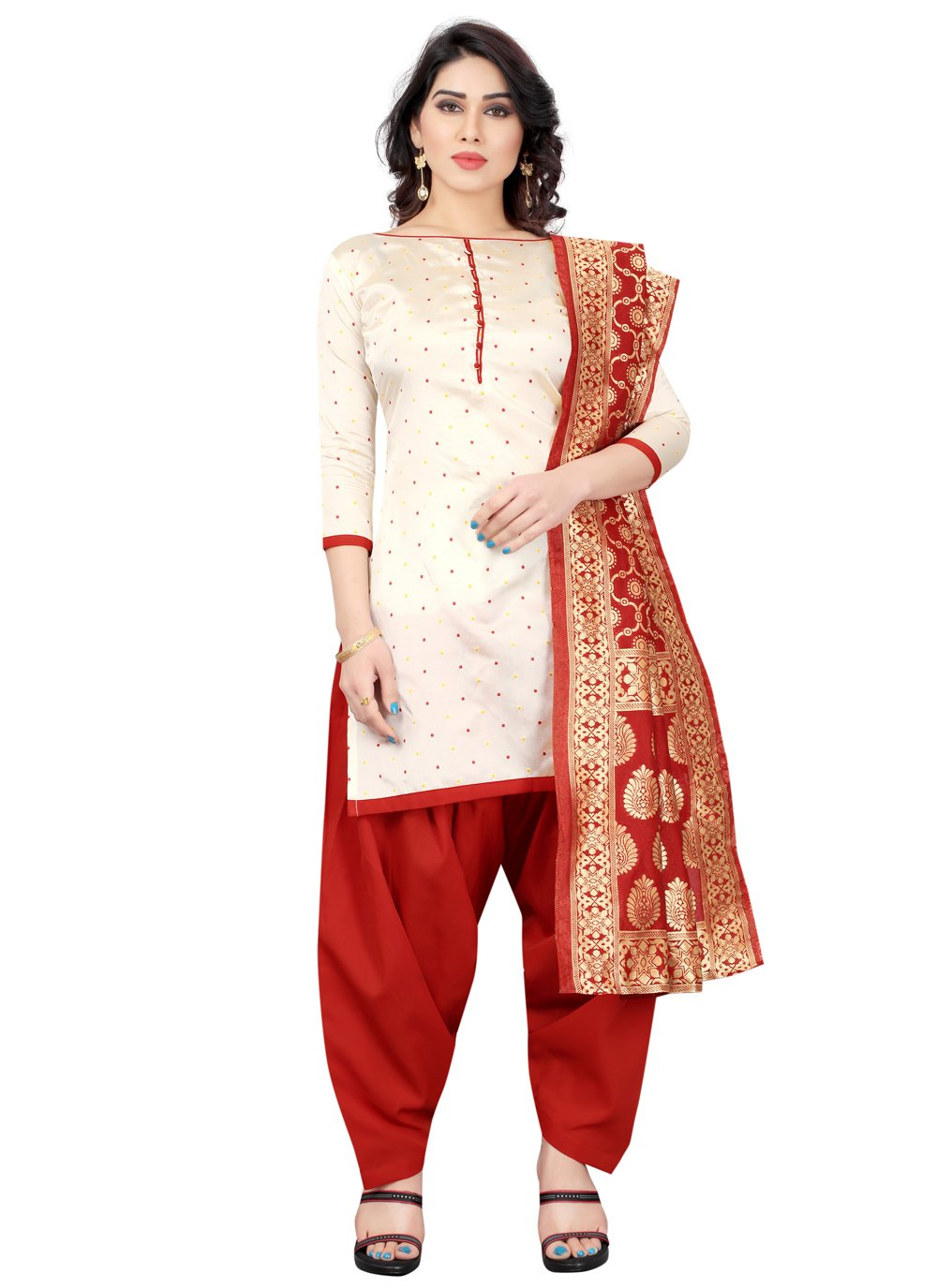 Designer Patiala Suit Fancy Tafeta Silk in Off White and Red