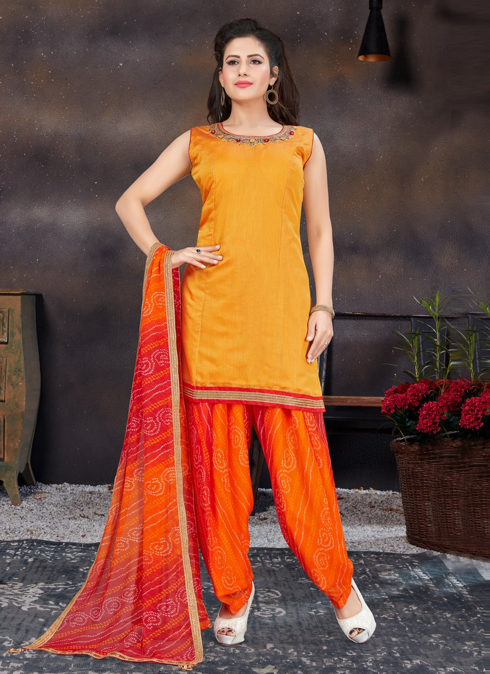 Designer Patiala Suit Handwork Chanderi in Orange and Yellow