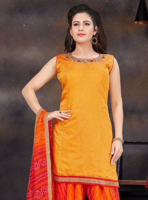Designer Patiala Suit Handwork Chanderi in Orange and Yellow