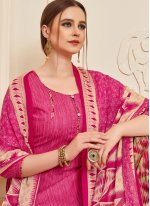 Designer Patiala Suit Printed Cotton in Pink