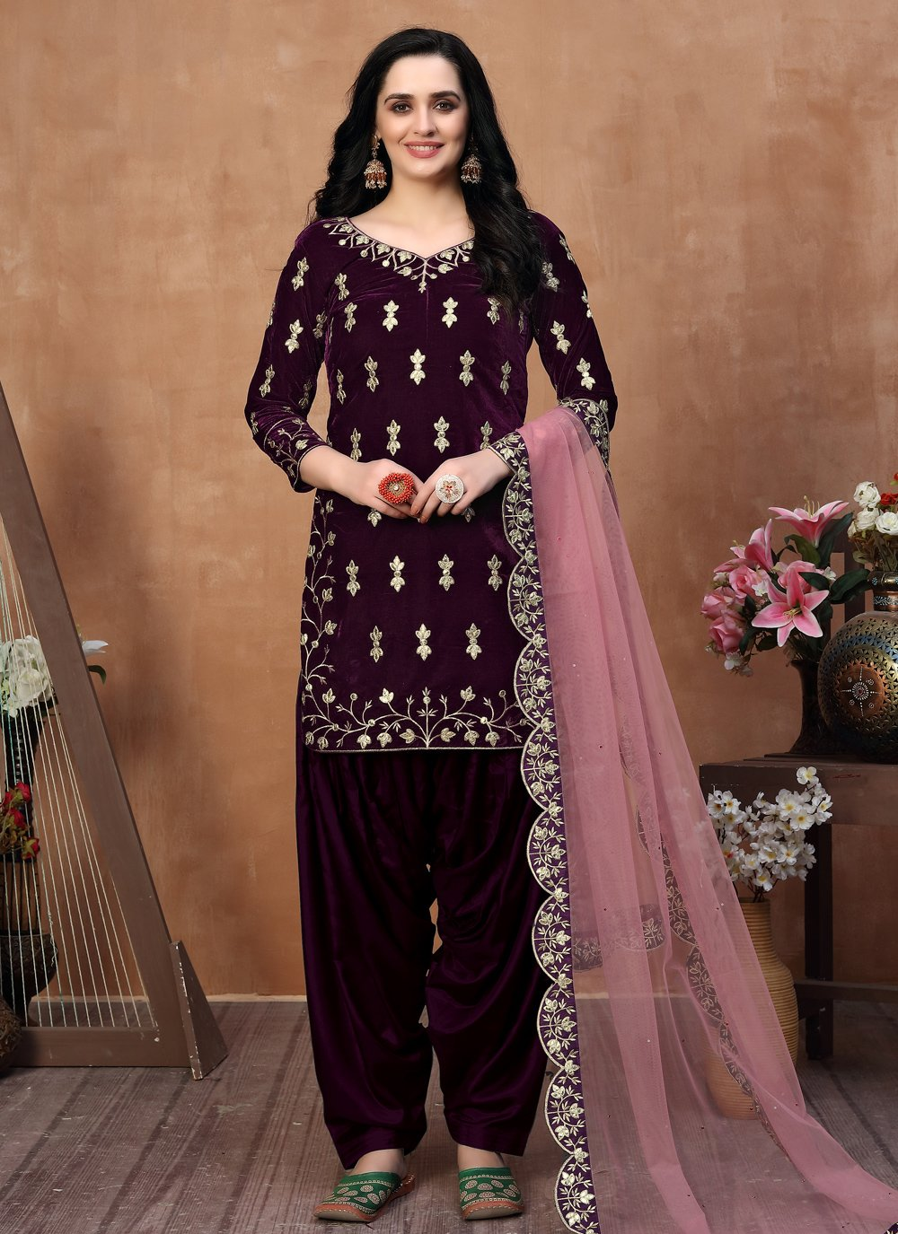 Designer Patila Salwar Suit For Festival