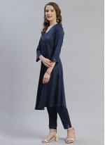 Designer Salwar Kameez Plain Viscose in Navy Blue