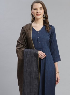 Designer Salwar Kameez Plain Viscose in Navy Blue