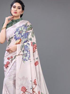 Designer Saree Digital Print Georgette Satin in Multi Colour