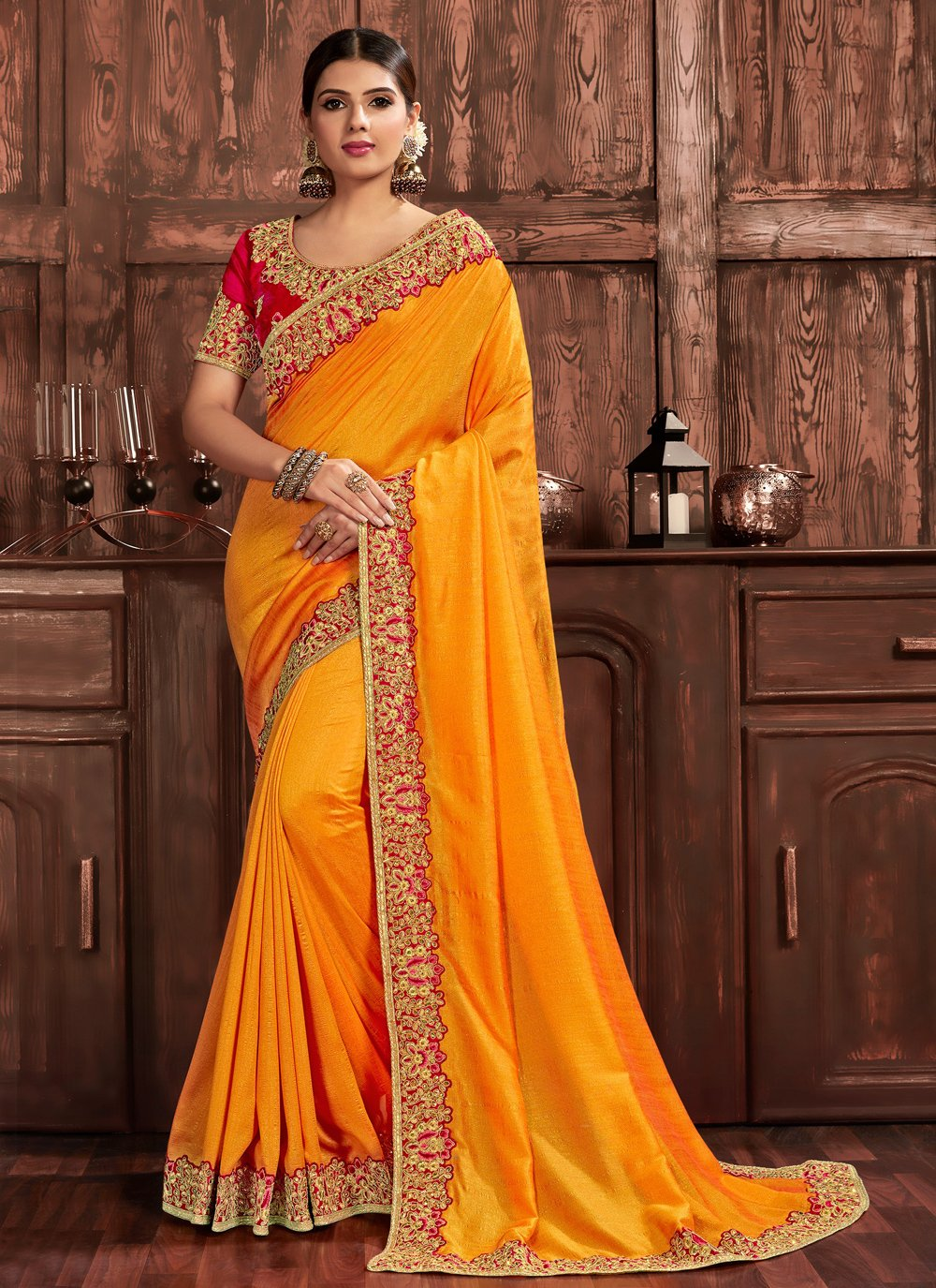 Designer Saree Embroidered Poly Silk in Yellow