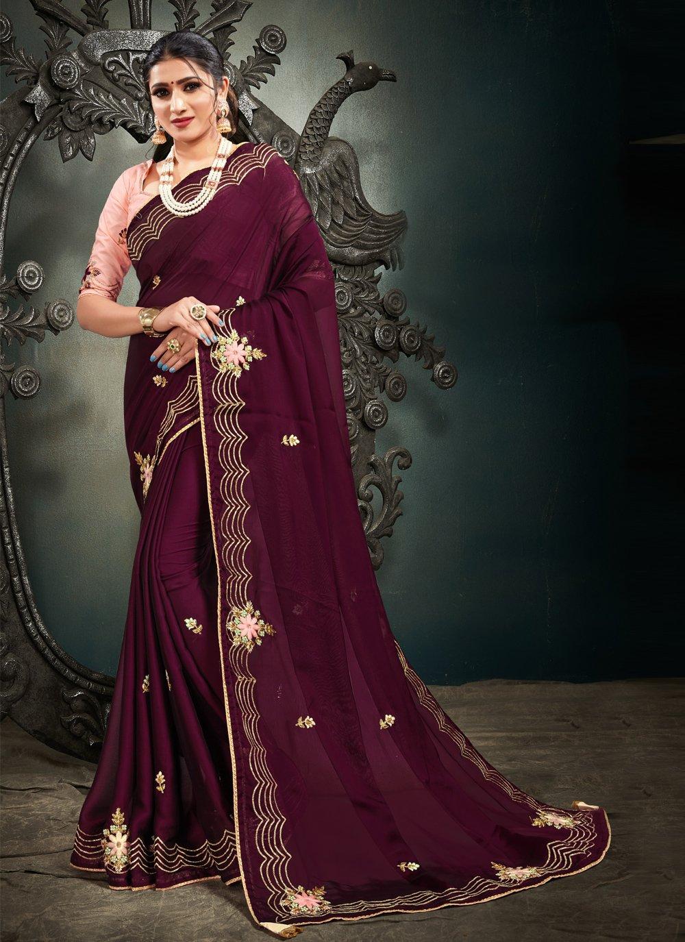 Designer Saree Embroidered Satin in Wine