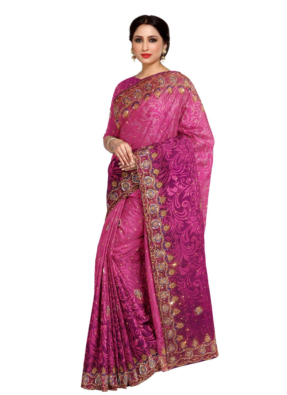 Designer Saree Fancy Fancy Fabric in Rani