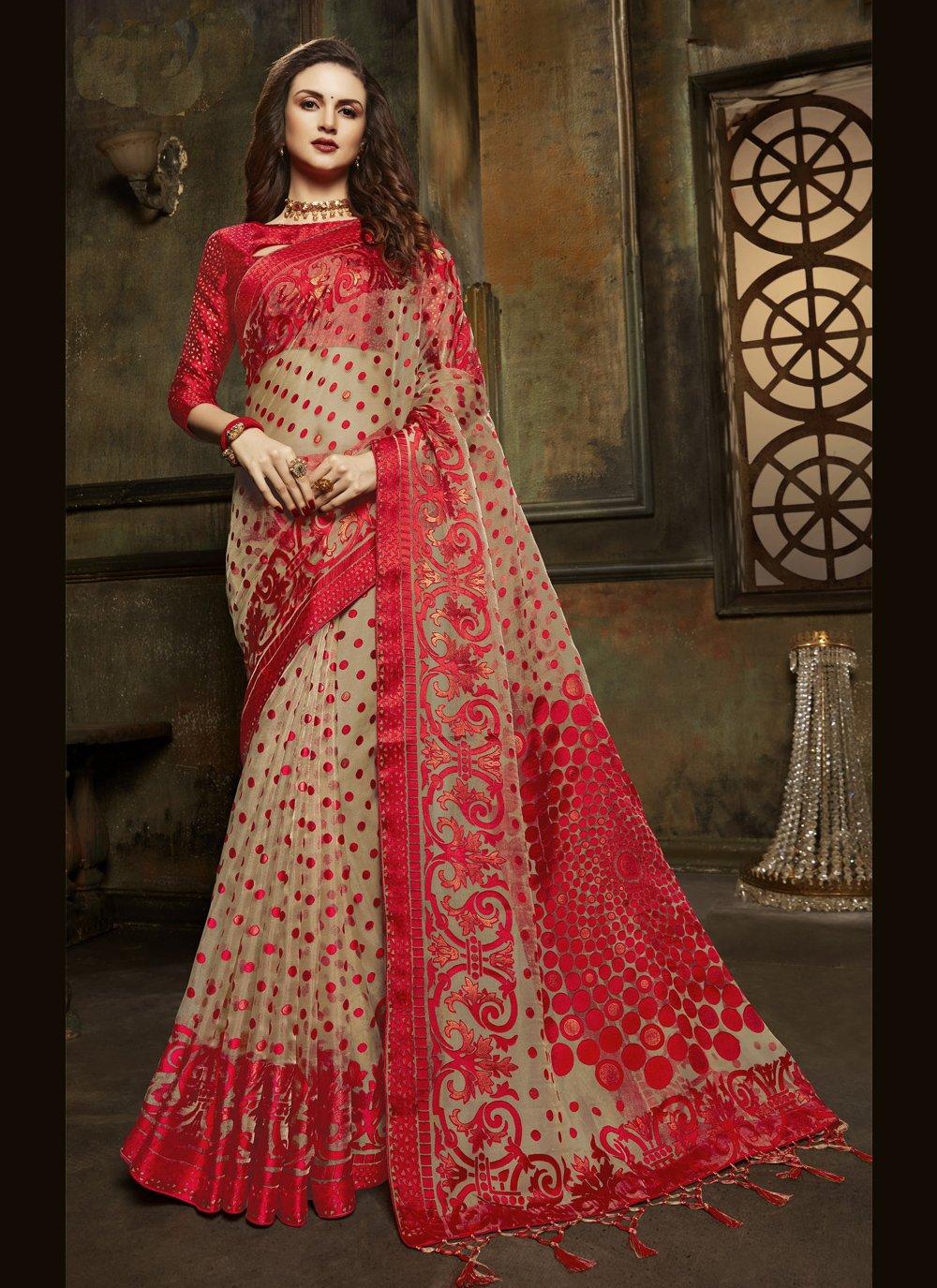 Designer Saree Fancy Organza in Beige and Red