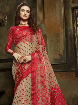 Designer Saree Fancy Organza in Beige and Red