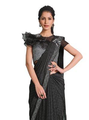 Designer Saree Handwork Lycra in Black