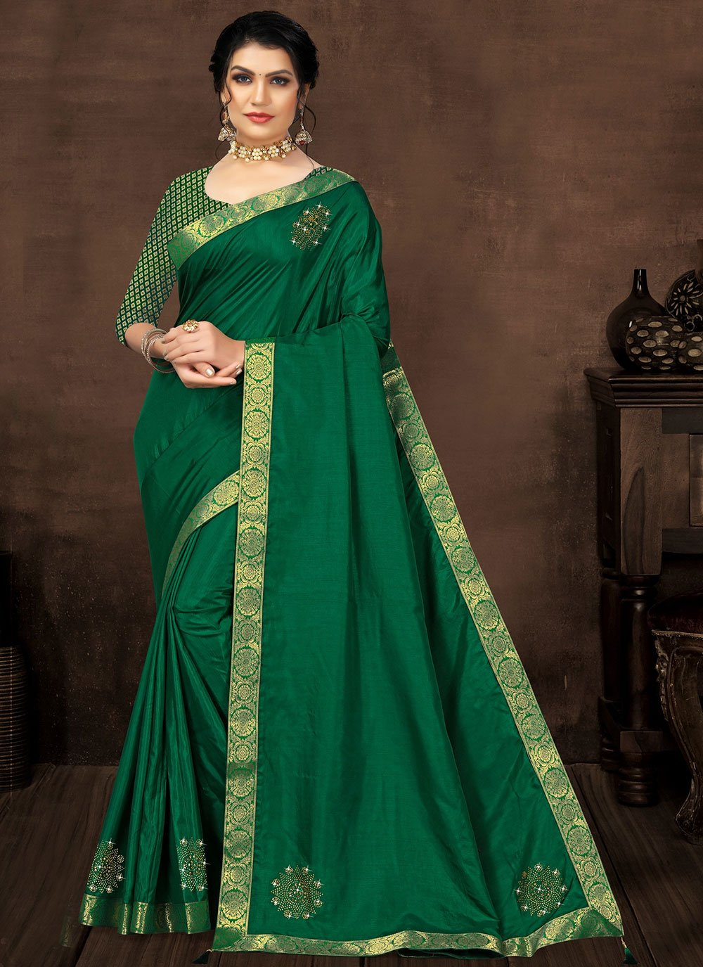 Designer Saree Lace Silk in Green