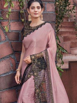 Designer Saree Patch Border Silk in Pink